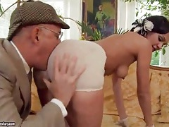 Slut sucks old man dick and gets a rimjob tubes
