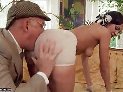 Slut sucks old man dick and gets a rimjob tubes
