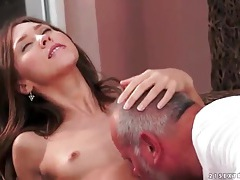 Young slut tenderly sucks old man cock outdoors tubes
