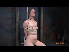 Slut in skirt and lace is tied up lustily tubes