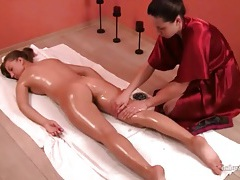 Oil massage leaves her body relaxed tubes
