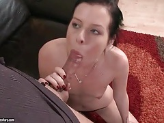 Skinny girl with pierced tongue sucks his dick tubes