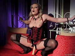 Impossibly hot blonde girl masturbates with toy tubes