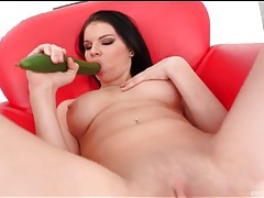 Horny euro beauty sucks a zucchini and fucks it tubes