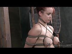 Beautiful redhead tied up for tit torture tubes
