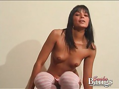 Teen pulls aside cute panties and fingers cunt tubes