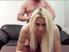 Missionary fuck on a desk with blonde tubes