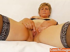 Orgastic wife playing with a rubber cock tubes