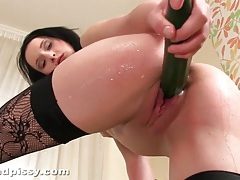 Veggie fucking girl in stockings takes a piss tubes