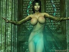 3d cgi big tits elf in