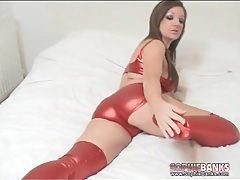 Shiny spandex clothes and leggings on sexy chick tubes