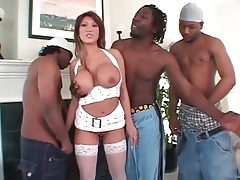 Fake boobs beauty ava devine blows black guys tubes