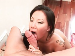 Asian pornstar blows him and rides his fat dick tubes