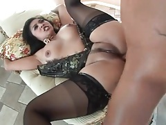 Asian lingerie babe lets him have her asshole deep tubes