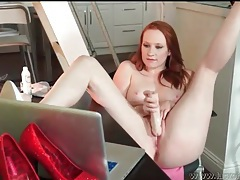 Hottie lubes her dildo and fucks it lustily tubes