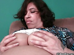 51 year old granny with leaking nipple and dripping pussy tubes