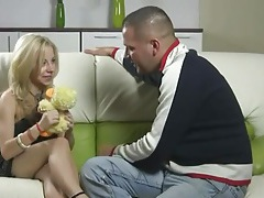 Teen in pretty dress is amazed by his big cock tubes