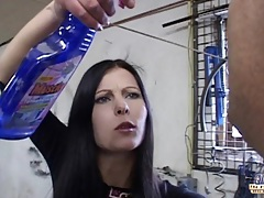 Young brunette fucking old fat man in the garage tubes