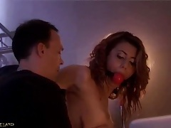 Tied up,fingered and slapped redhead slave girl tubes