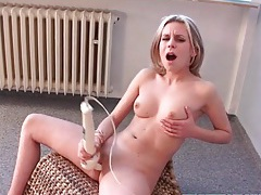 Pretty girl in pink high heels toys cunt tubes