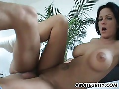 Busty amateur girlfriend fucked on the floor with cumshot tubes