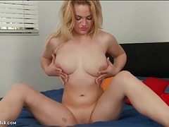 Blonde courtney shea strips and fondles her tits tubes