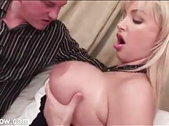 Cougar fondles her big titties to seduce the guy tubes