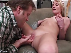 Teen strips off cardigan sweater for hot licking tubes