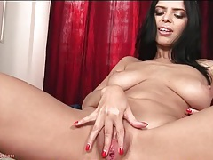 Slut in shiny high heels fingers her pussy tubes