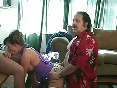 Ron jeremy fucks slut doggystyle while she blows a guy tubes