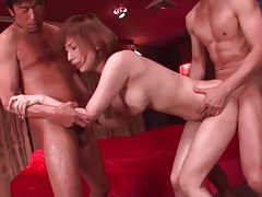 Slick body japanese girl fucked in threesome tubes