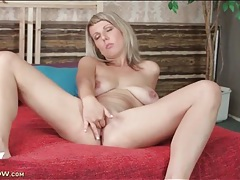 Blonde luci angel strips nude and fingers pussy tubes