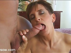 Mature in sexy black lingerie sucks big cock tubes