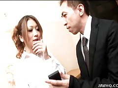 Japanese housewife licked in the kitchen tubes
