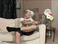 Blonde punk twink strips and strokes to porn tubes