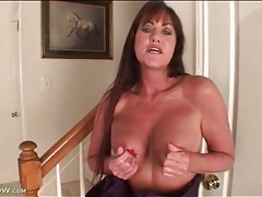 Mature cynthia davis strips from her evening gown tubes