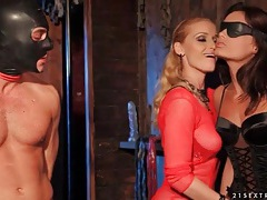 Blonde mistress dominates a couple for pleasure tubes
