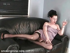 Stockings and garter belt on hot girl suckin dick tubes