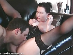 Man worships pussy of smoking dominatrix tubes