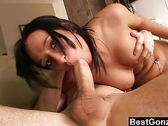 Lovely brunette with massive tits gets fucked tubes