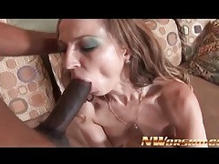 Skinny slut sucks and sits on his bbc tubes