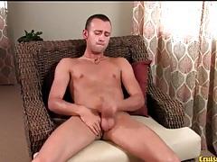 Skinny tanned guy strokes his boner solo tubes