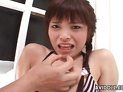 Cock cums in the mouth of japanese suck slut tubes