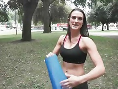 Misty anderson does yoga in a public park tubes