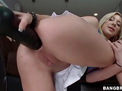 Huge black dildo up the butt of amy brooke tubes