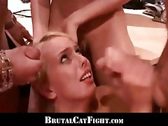 Office catfight and double hardcore sex for two blondes tubes