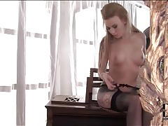Gorgeous body on tattooed blonde in stockings tubes
