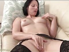 Naughty naked girl with perky breasts masturbates tubes