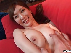 Pink sweater stripped off and japanese tits fondled tubes