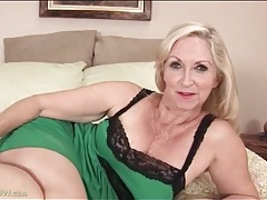 Granny looks cute in green lingerie tubes